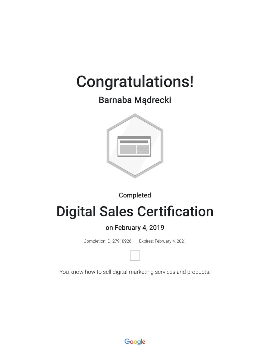 Digital Sales Certitation