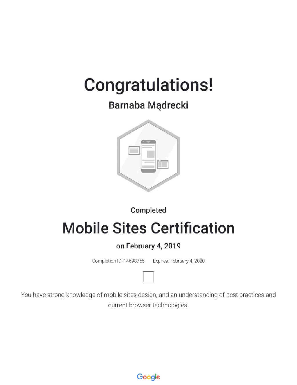 Mobile Sites Certitification